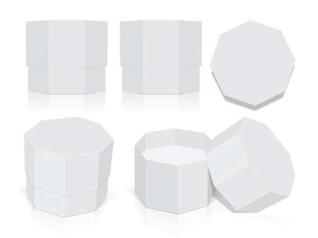Octagonal box mock up. 矢量图像