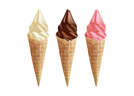 vanilla, fruit and chocolate ice cream in the cone waffle on white background