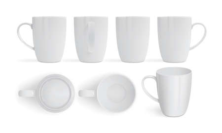 white mugs isolated on white background view from different sides 矢量图像