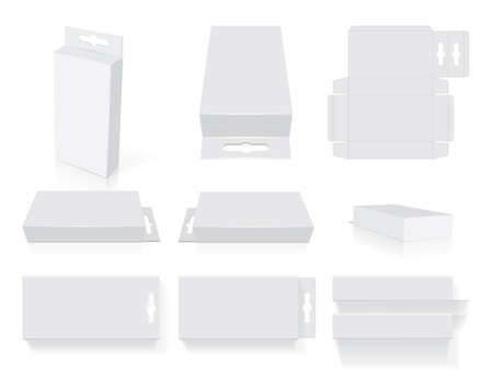 rectangular box on a white background top view mock up vector