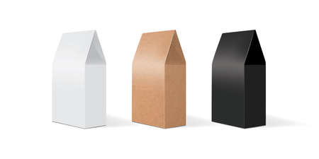 white, brown and black paper packaging mock up vector