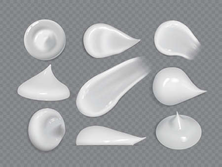 realistic cream smears isolated on dark background