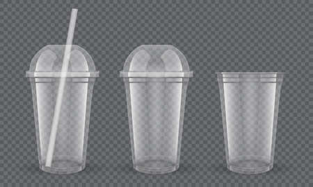 Empty transparent plastic cups with straw on dark background vector mock up