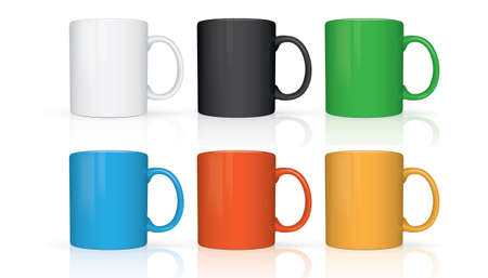 mugs of different colors isolated on white background vector mock up
