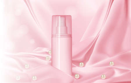 bottle with perfume on a background of silk and pearls mock up vector