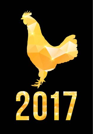 Happy Chinese new year 2017 with golden rooster , animal symbol of 2017 year Illustration