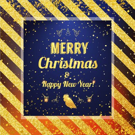 Marry Christmas and Happy New Year 2017 card. Vector gold glittering pattern for certificate, gift, voucher, present, discount, invitation.