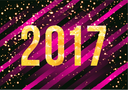 Vector 2017 New Year card on glamorous striped background.
