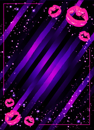 girls night out: girls night party poster illustration with shining pink lips. Illustration