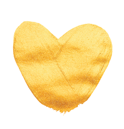 foil: Vector shining gold heart for you amazing design project. Watercolor texture brush strokes isolated on white. Abstract hand painted golden background.