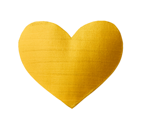 Vector shining gold heart for you amazing design project. Watercolor texture brush strokes isolated on white. Abstract hand painted golden background.