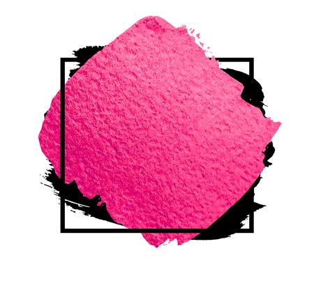 Vector creatieve roze banner. Penseelstreek voor je geweldige ontwerpproject. Aquarel textuur verf vlek op wit wordt geïsoleerd. Stock Illustratie