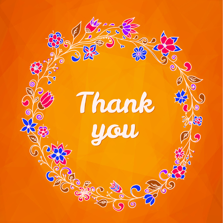 thank you card with flower frame 向量圖像