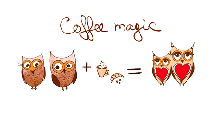 Set of cute owls. Coffee concept. cartoon owls isolated on white background Illustration
