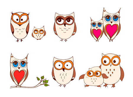 Set of cute owls. cartoon owls and owlets birds isolated on white background
