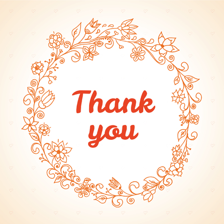 thank you card with flower frame