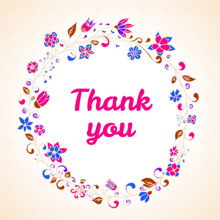 Vector thank you card with flower frame 向量圖像