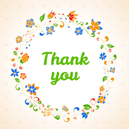 Vector thank you card with flower frame Illustration