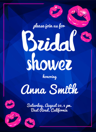 girls night out: Vector bridal shower night party poster illustration with shining pink lips.