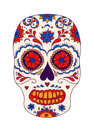 Vector skull color illustration, t-shirt graphics. Day of the dead sugar skull. Mexican skull. Day of the dead skull. Dia de los muertos skull illustration. Illustration