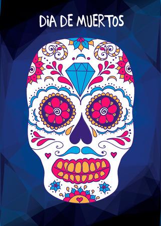 Vector skull color illustration, t-shirt graphics Day of the dead sugar skull. Mexican skull Day of the dead skull illustration. Illustration