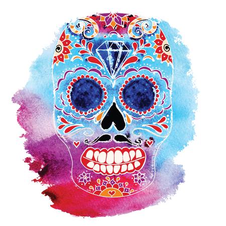Ilustración del color del cráneo del vector, gráficos de la camiseta. Día del cráneo muerto de azúcar. Calavera mexicana Día del cráneo muerto. Dia de los muertos ilustración del cráneo. Foto de archivo - 82240088