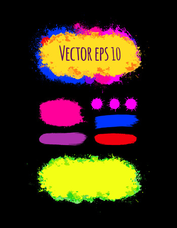 holi: Set of abstract colorful brush strokes. Hand drawn brush stains.