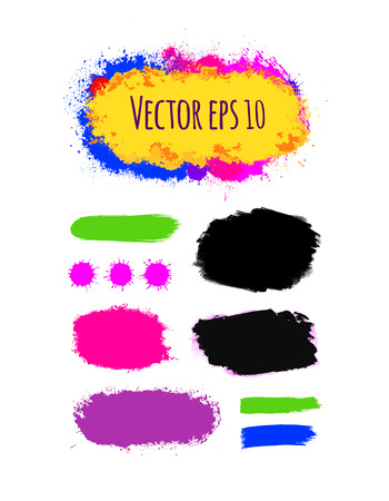 Set of painted grunge banners in bright colorful ink vector stains isolated on white. Rainbow Colored backgrounds for design. Hand drawn vector illustration on black.