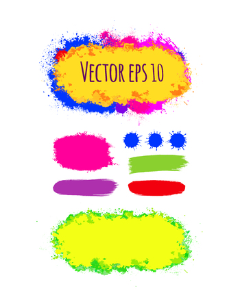 grain: Set of painted grunge banners. Bright colorful ink vector stains isolated on white. Rainbow Colored backgrounds for design. Hand drawn vector illustration on black. Brush strokes vector.