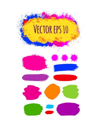 brushstroke: Set of painted grunge banners. Bright colorful ink vector stains isolated on white. Rainbow Colored backgrounds for design. Hand drawn vector illustration on black. Brush strokes vector.