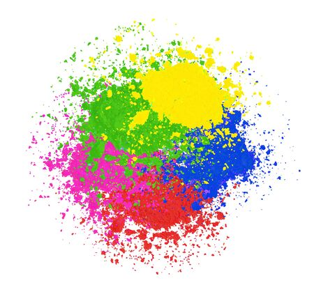 bright colorful banner with powder splashes. Colorful Happy Holiday background. Abstract Holi powder texture. Rainbow colored banner design. Stock Photo