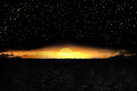 Exoplanet or extrasolar planet.  illustration. Universe filled with stars.