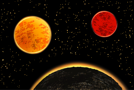 Exoplanets or extrasolar planets.  illustration. Universe filled with stars. Stock Photo