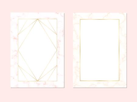 Sfondo moderno astratto per matrimonio o biglietto da visita con texture oro rosa. Modello vettoriale per carta, invito, affari, vip, flyer, logo, brochure. Buono per stilista, designer, truccatore.