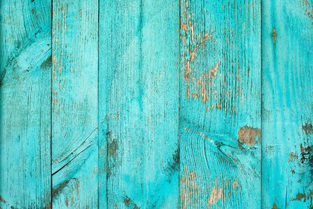 Wooden teal or turquoise green painted board. Vintage beach wood backdrop.