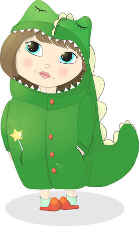 Girl Dragon, cartoon illustration.