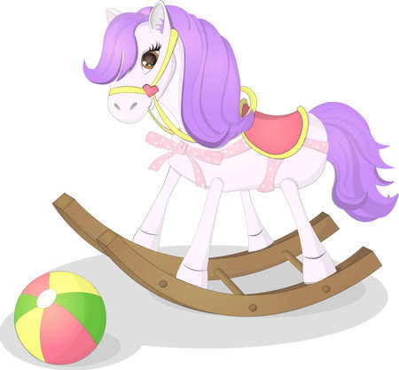 Kids toys, cartoon illustration. Little cute pony