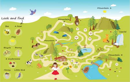 Labyrinthe amusant pour les enfants. Aidez la fille lors d'un voyage dans les montagnes.