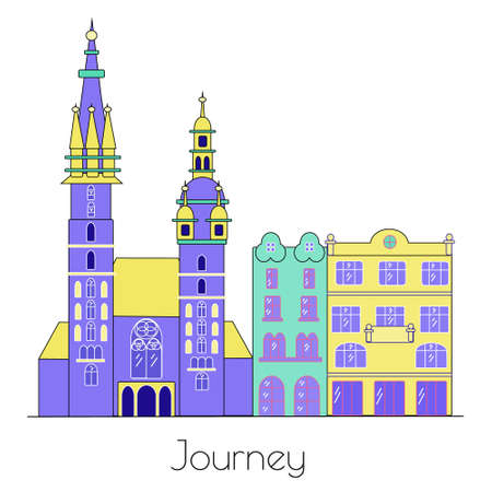 City background. Cute vector cityscape. Vector old town elements. Krakow, Poland, architecture line skyline illustration. Outline city vector illustration, symbol, travel sights, landmarks.