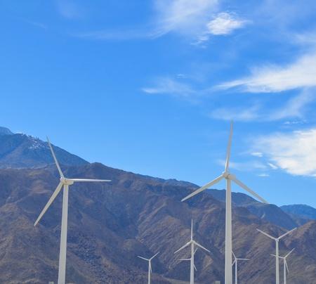 Wind turbines near in desert Palm Springs