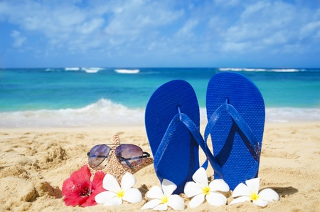 Flip flops and starfish with sunglasses with tropical flowers on sandy beach in Hawaii, Kauai photo