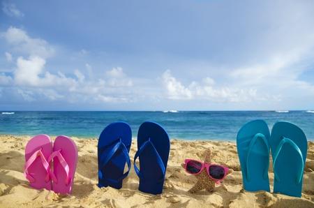 하와이 카우아이에서 모래 해변에 선글라스와 플립 플롭 및 불가사리