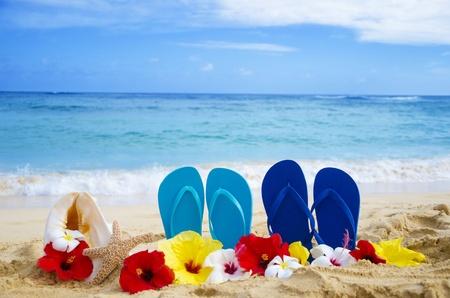 Flip flops, seashell and starfish with tropical flowers on sandy beach in Hawaii, Kauai Stock Photo