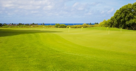 Beautiful golf park in summer day in Hawaii, Kauai Stock Photo