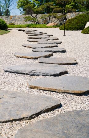 Stones way in the Japanese garden in sunny day