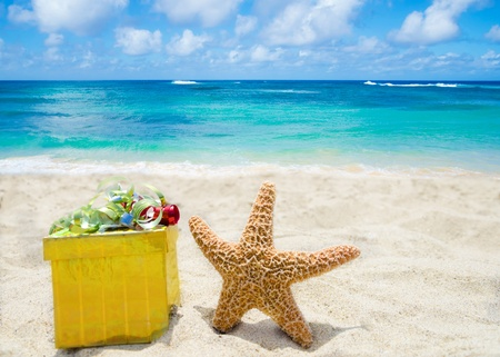 Starfish with yellow gift  box on sandy beach in sunny day- holiday concept photo
