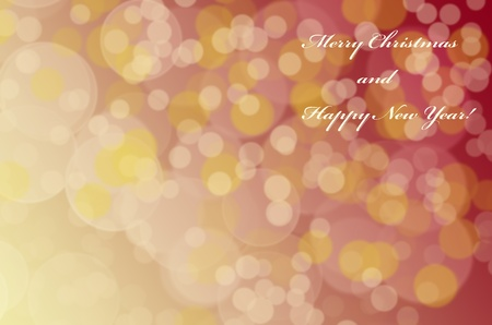 Golden and white bokeh with sign 'Merry Christmas and New Year!' on bright background  photo