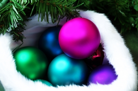Few Color Christmas balls by the tree Stok Fotoğraf