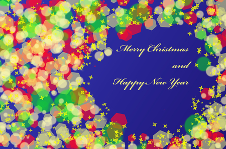 Abstract Christmas Background with frame, bokeh and stars