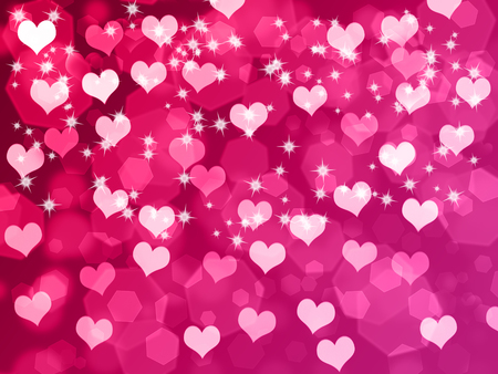 bright: Abstract Valentines day background with hearts and stars